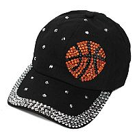 Black Rhinestone Basketball Hat    #ACHW-BLKBask