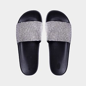 Black Crystal Slide Sandals        #CRBLACKSL