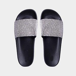 Black Crystal Slide Sandals        #CRBLACKSL