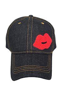 Black Denim Red Lip Hat    #FG-blkdenimlip