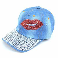 Rhinestone Bling Blue Denim Lip Hat           #FG-BlingLip
