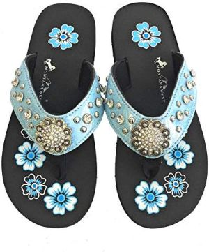New Montana West Pastel Blue Thin Flat Flip Flops #MW-PASTELBLUE3