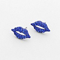 Rhinestone Blue Lip Earrings            #W-Blue