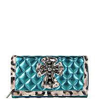 Shiny Turquoise Leopard Rhinestone Cross Wallet    #WWD-TUR