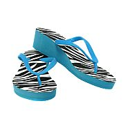 Blue Zebra Wedge Flip Flops                   #BlueZebra