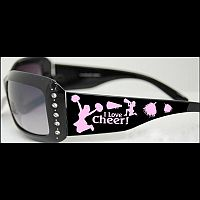 Black & Pink Rhinestone Cheerleading Sunglasses  #WA-cheer