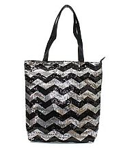 Black Silver Sequin Chevron Tote Bag