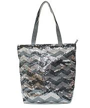 Gray Silver Sequin Chevron Tote Bag