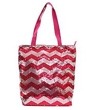 Hot Pink Silver Sequin Chevron Tote Bag
