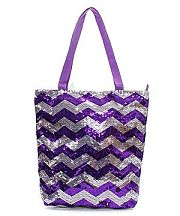 Purple Silver Sequin Chevron Tote Bag