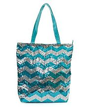 Turquoise Silver Sequin Chevron Tote Bag