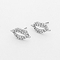 Rhinestone Clear Stud Lip Earrings            #W-Clearstud