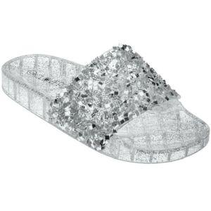 Silver Glitter Slip On Slide Jelly Sandals   #CLSLIPSIL