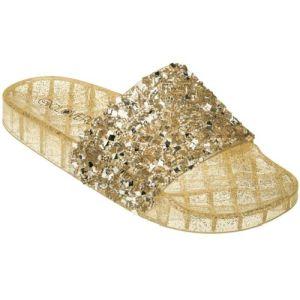 Gold Glitter Slip On Slide Jelly Sandals   #CLSLIPGOLD