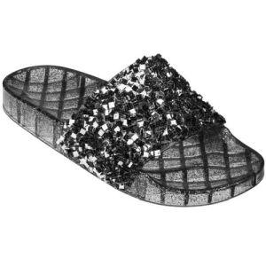 Black Glitter Slide On Jelly Sandals   #CLSLIPBL