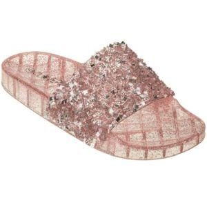 Rose Gold Glitter Slip On Slide Jelly Sandals   #CLSLIPROSG