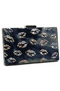 Black Silver Lip Clutch   #FG-Ssilver