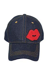Dark Blue Denim Red Lip Hat              #FG-dkbluedenim