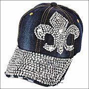 Rhinestone Blue Jean Fleur De Li's Hat