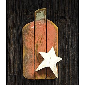 Nine Inch Wood Pumpkin With Star #242