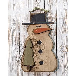 "18"" Hanging Wood Snowman With Tree    #11"