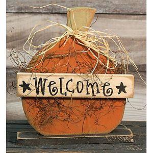 Standing 14 Inch Wood Welcome Pumpkin  #320