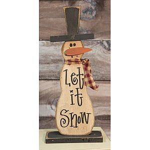 18 1/2 Inch Tall Let It Snow Wood Snowman   #409