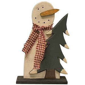Seven Inch Wood Frosty With Tree      #880
