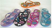 Multi Colored Little Girl Glitter Flat Lip Flip Flops   #FG-girls