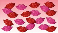 (60) Count 3D Glitter Foam Red & Pink Lip Stickers      #BA-Stick