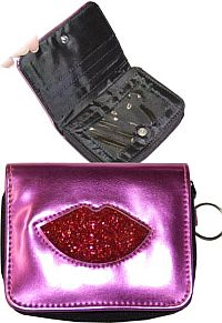 Small Hot Pink Red Glitter Lip Wallet   #MGH-pkglitter