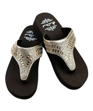 New Montana West Gold Wedge Flip Flops #MW-GOLD17