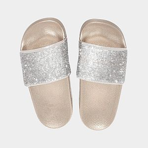 Gold Crystal Slide Sandals        #CRGOLDSL