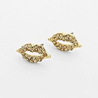 Rhinestone Gold Stud Lip Earrings            #W-goldstud
