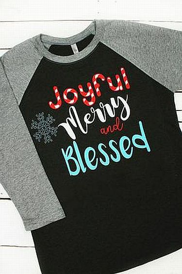 Black & Gray Joyful Merry Blessed Holiday Shirt     #WAS-GRAY