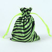 Set of 10 Green Satin Zebra Print Bags              #GRZebrabbcs