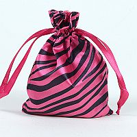 Set of 10 Pink Satin Zebra Bags                                              #PinkZebra