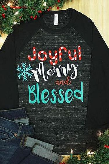 Black Joyful Merry Blessed Holiday Shirt     #WAS- Black