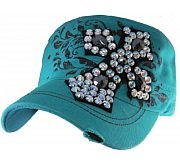 Turquoise Rhinestone Bling Cross Hat