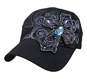 Black Rhinestone Jewels Cross Bling Hat