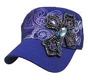 Purple Rhinestone Jewels Cross Bling Hat