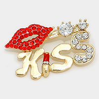 Gold Kiss Lip Brooch                   #W-gold2