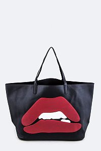 Black Leather Red Lip Handbag   #FG-SBLIP