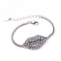 Rhinestone Silver Large Lip Bracelet                  #CH-Rhinestone
