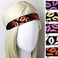 Set of 2 Foil Lip Hair Headbands                                           #MGH-foilhair