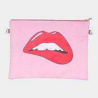 Pink Bitten Lip Cosmetic Bag   #F-PinkLip