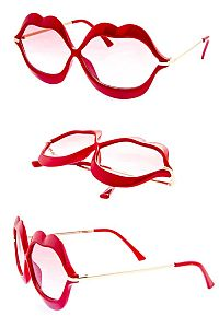 Red Shaped Lip Sunglasses                             #FG-lipshaped