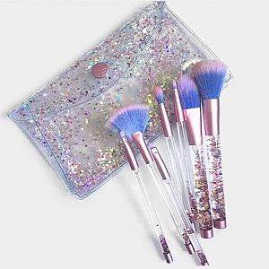 7pc. Liquid Glitter Confetti Purple & Pink Make Up Brush Set       #WPurple