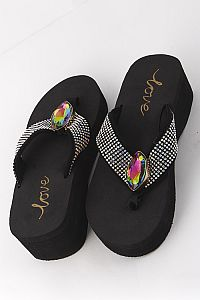 New Rhinestone Mulit Colored Gem Flip Flops   #LOVE19
