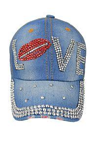 Rhinestone Bling Love Lip Denim Hat    #FG-love